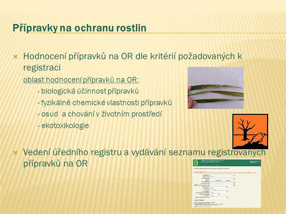Přípravky na ochranu rostlin  Hodnocení přípravků na OR dle kritérií požadovaných k registraci oblast hodnocení přípravků na OR: - biologická účinnost přípravků -fyzikálně chemické vlastnosti přípravků - osud a chování v životním prostředí - ekotoxikologie  Vedení úředního registru a vydávání seznamu registrovaných přípravků na OR