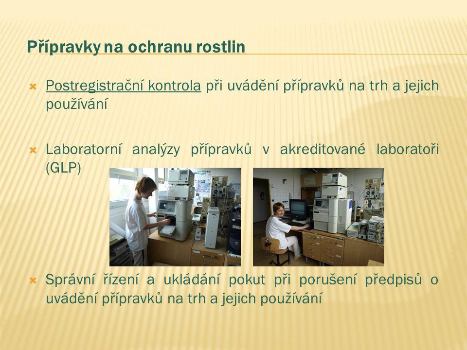 Přípravky na ochranu rostlin  Postregistrační kontrola při uvádění přípravků na trh a jejich používání  Laboratorní analýzy přípravků v akreditované laboratoři (GLP)  Správní řízení a ukládání pokut při porušení předpisů o uvádění přípravků na trh a jejich používání