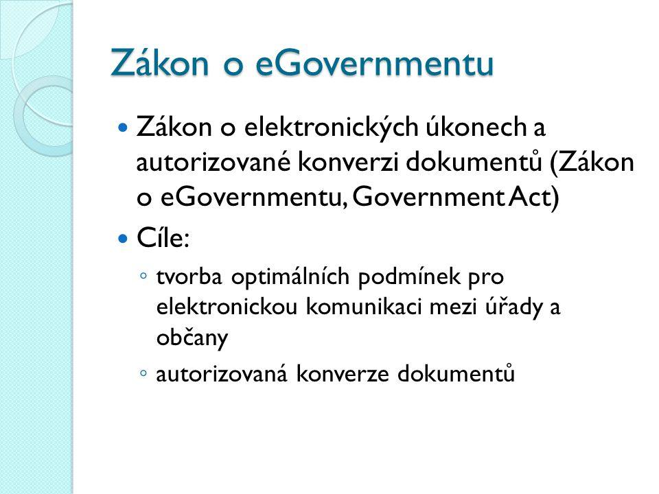Zákon o eGovernmentu Zákon o elektronických úkonech a autorizované konverzi dokumentů (Zákon o eGovernmentu, Government Act) Cíle: ◦ tvorba optimálníc