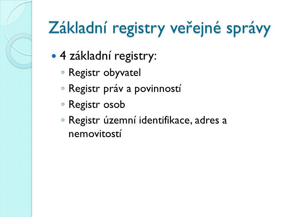 Základní registry veřejné správy 4 základní registry: ◦ Registr obyvatel ◦ Registr práv a povinností ◦ Registr osob ◦ Registr územní identifikace, adr