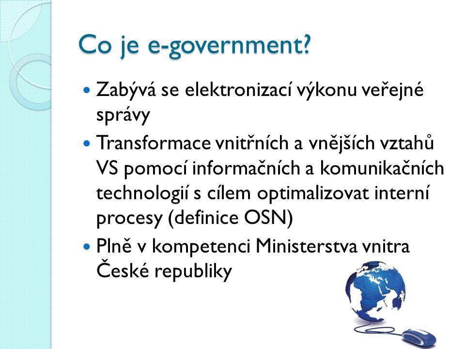 Co je e-government? Zabývá se elektronizací výkonu veřejné správy Transformace vnitřních a vnějších vztahů VS pomocí informačních a komunikačních tech