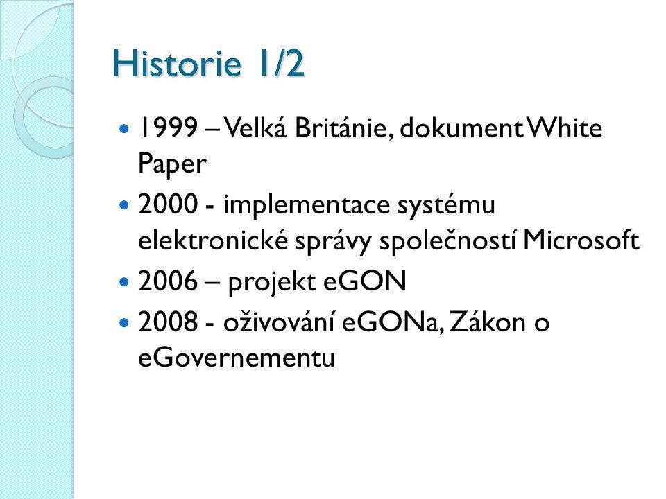 Historie 1/2 1999 – Velká Británie, dokument White Paper 2000 - implementace systému elektronické správy společností Microsoft 2006 – projekt eGON 200