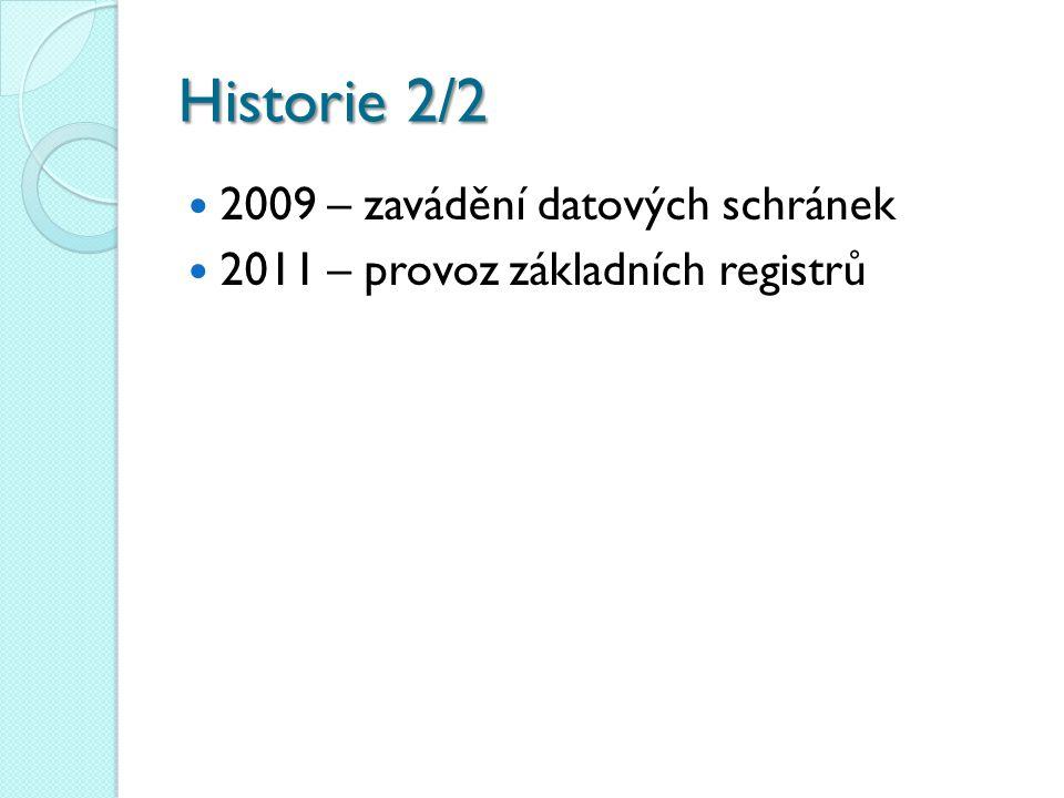 Historie2/2 Historie 2/2 2009 – zavádění datových schránek 2011 – provoz základních registrů