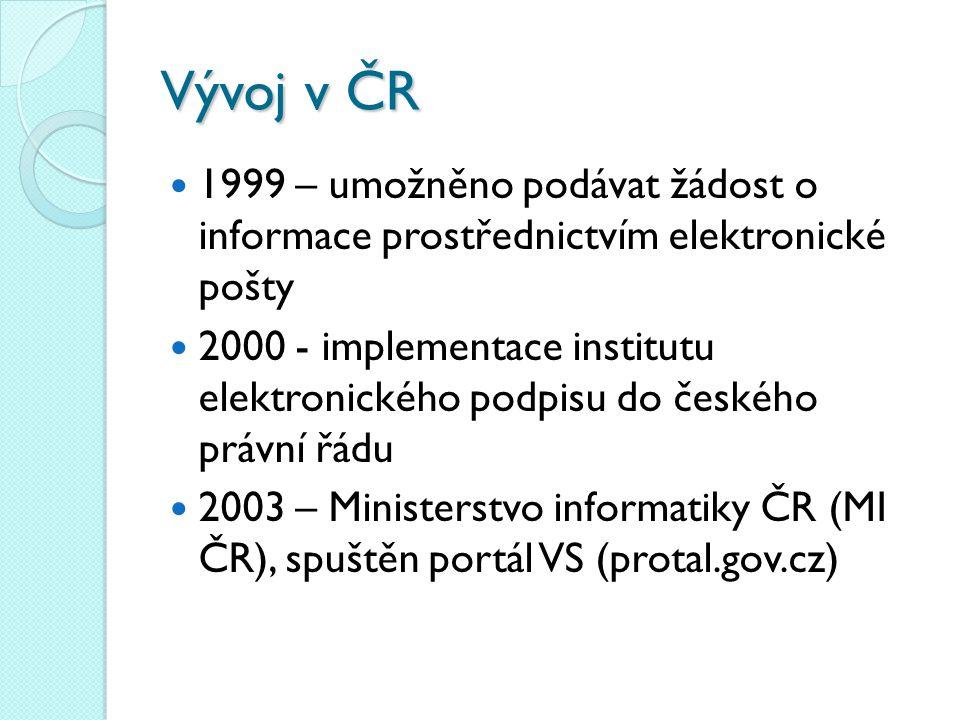 Vývoj v ČR 1999 – umožněno podávat žádost o informace prostřednictvím elektronické pošty 2000 - implementace institutu elektronického podpisu do české