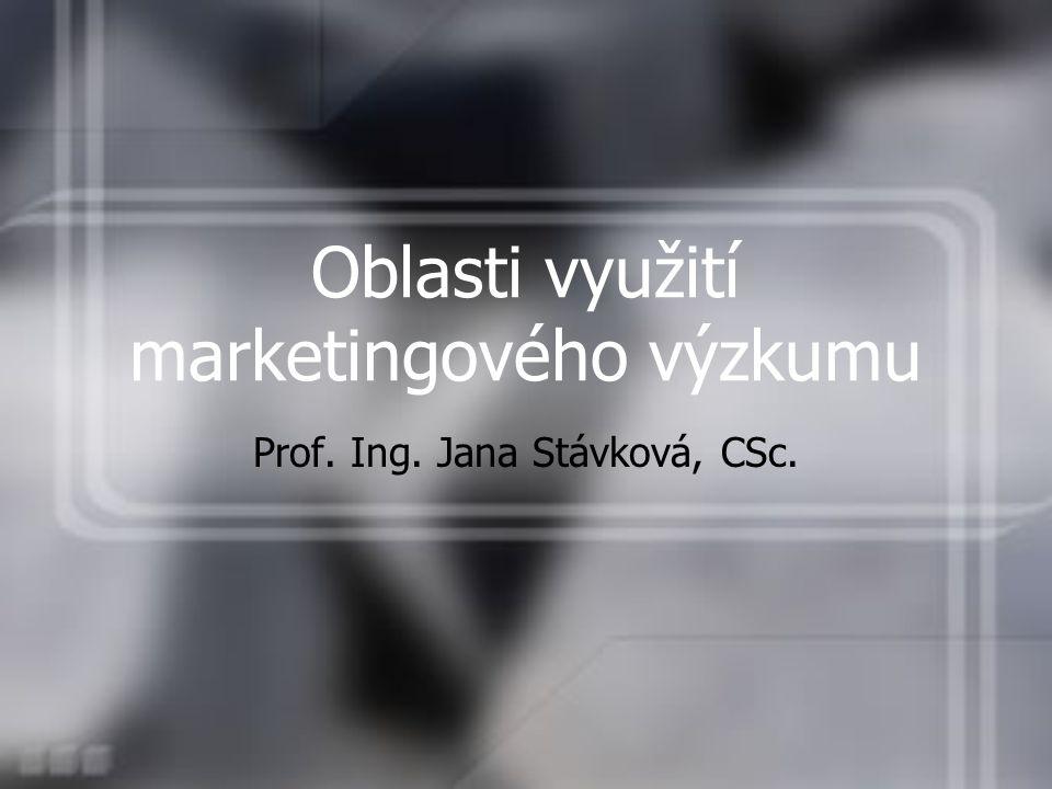 Prof. Ing. Jana Stávková, CSc. Oblasti využití marketingového výzkumu