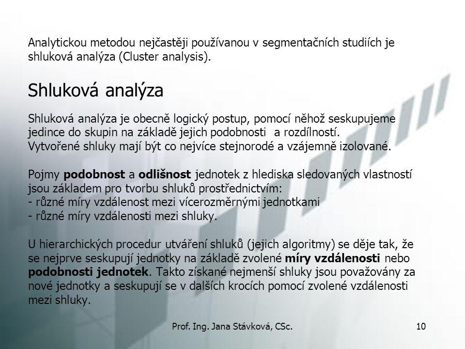 Prof. Ing. Jana Stávková, CSc.10 Analytickou metodou nejčastěji používanou v segmentačních studiích je shluková analýza (Cluster analysis). Shluková a