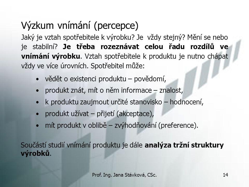 Prof. Ing. Jana Stávková, CSc.14 Výzkum vnímání (percepce) vědět o existenci produktu – povědomí, produkt znát, mít o něm informace – znalost, k produ