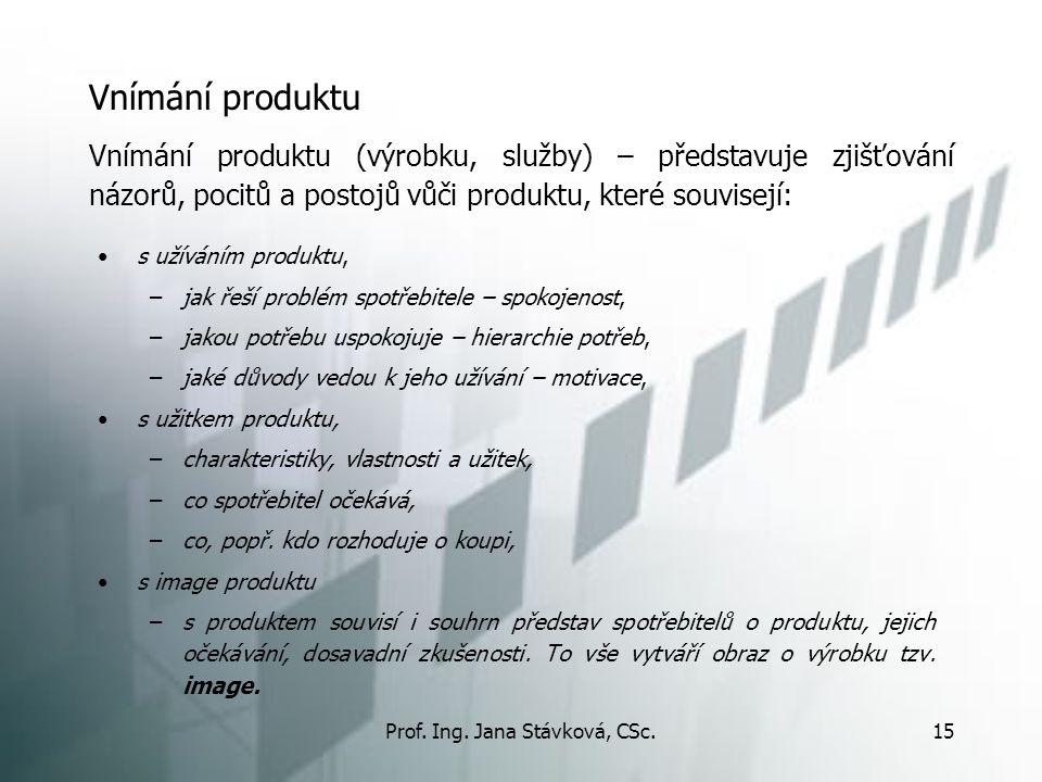 Prof. Ing. Jana Stávková, CSc.15 Vnímání produktu s užíváním produktu, –jak řeší problém spotřebitele – spokojenost, –jakou potřebu uspokojuje – hiera
