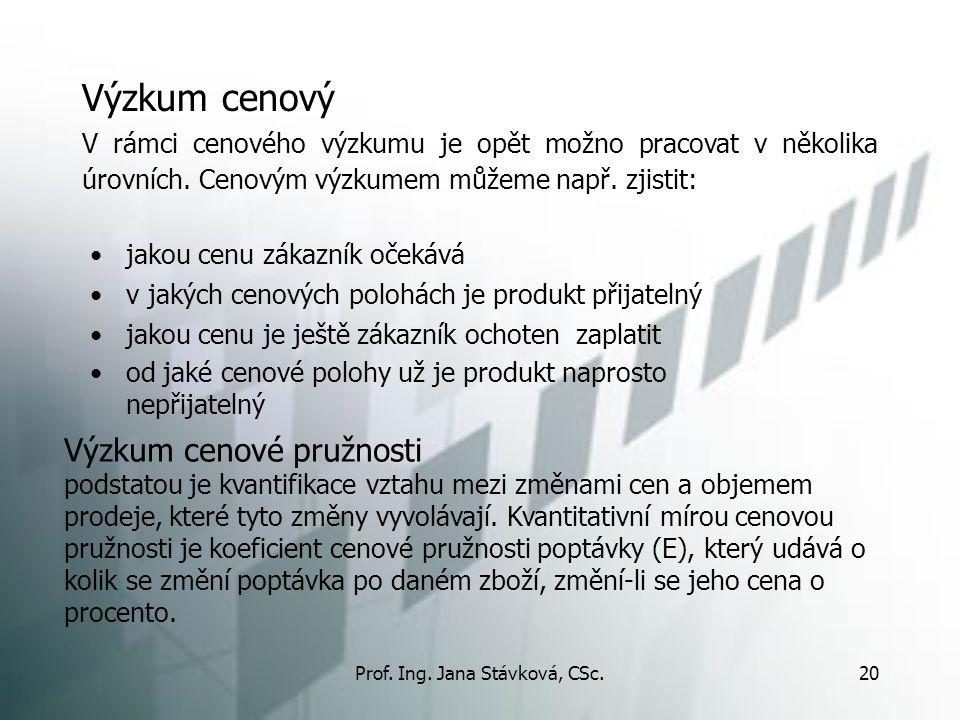 Prof. Ing. Jana Stávková, CSc.20 Výzkum cenový jakou cenu zákazník očekává v jakých cenových polohách je produkt přijatelný jakou cenu je ještě zákazn