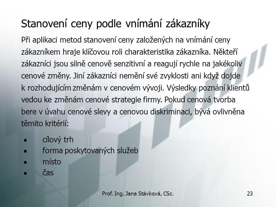 Prof. Ing. Jana Stávková, CSc.23 Stanovení ceny podle vnímání zákazníky  cílový trh  forma poskytovaných služeb  místo  čas Při aplikaci metod sta
