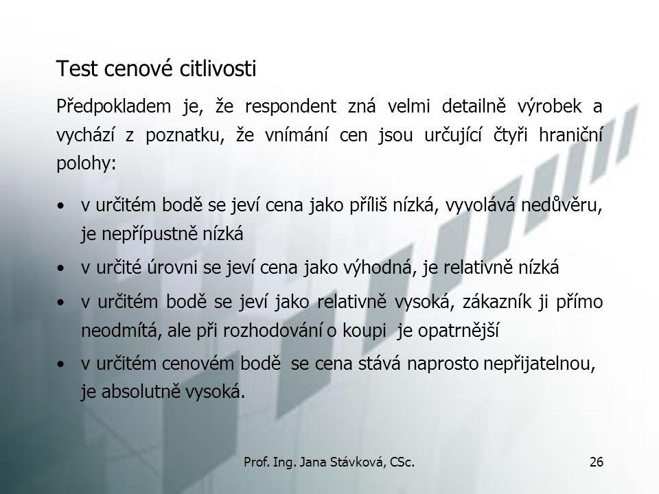 Prof. Ing. Jana Stávková, CSc.26 Test cenové citlivosti v určitém bodě se jeví cena jako příliš nízká, vyvolává nedůvěru, je nepřípustně nízká v určit