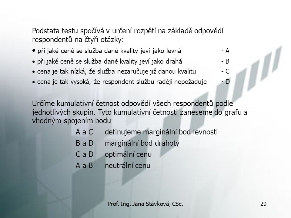 Prof. Ing. Jana Stávková, CSc.29 Podstata testu spočívá v určení rozpětí na základě odpovědí respondentů na čtyři otázky:  při jaké ceně se služba da