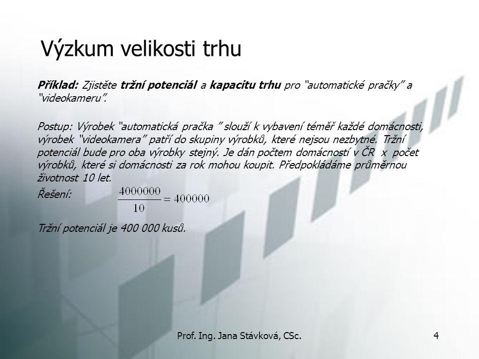 """Prof. Ing. Jana Stávková, CSc.4 Výzkum velikosti trhu Příklad: Zjistěte tržní potenciál a kapacitu trhu pro """"automatické pračky"""" a """"videokameru"""". Post"""