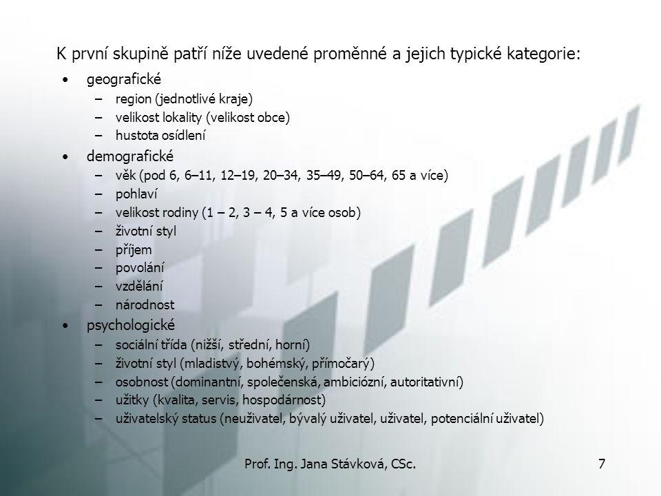 Prof. Ing. Jana Stávková, CSc.7 K první skupině patří níže uvedené proměnné a jejich typické kategorie: geografické –region (jednotlivé kraje) –veliko