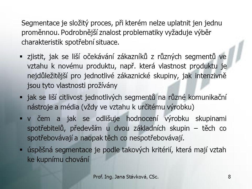 Prof. Ing. Jana Stávková, CSc.8 Segmentace je složitý proces, při kterém nelze uplatnit jen jednu proměnnou. Podrobnější znalost problematiky vyžaduje