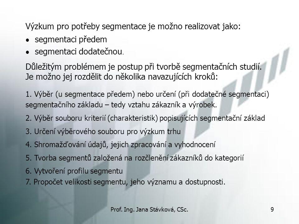 Prof. Ing. Jana Stávková, CSc.9 Výzkum pro potřeby segmentace je možno realizovat jako:  segmentaci předem  segmentaci dodatečnou. Důležitým problém
