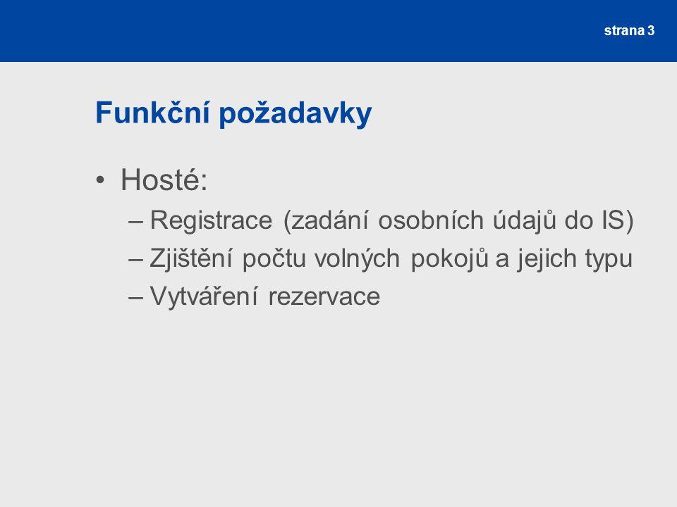 Funkční požadavky Hosté: –Registrace (zadání osobních údajů do IS) –Zjištění počtu volných pokojů a jejich typu –Vytváření rezervace strana 3