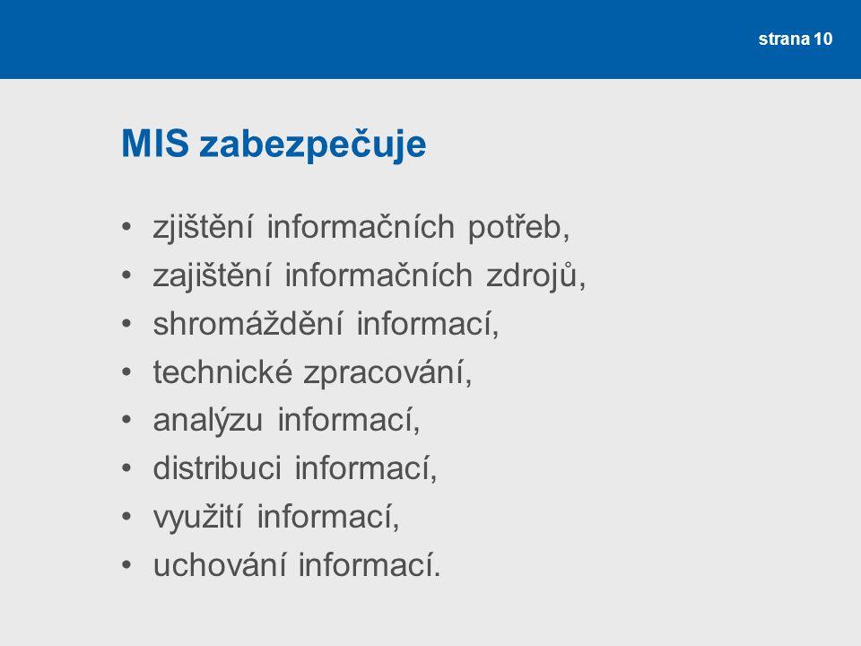 MIS zabezpečuje zjištění informačních potřeb, zajištění informačních zdrojů, shromáždění informací, technické zpracování, analýzu informací, distribuc