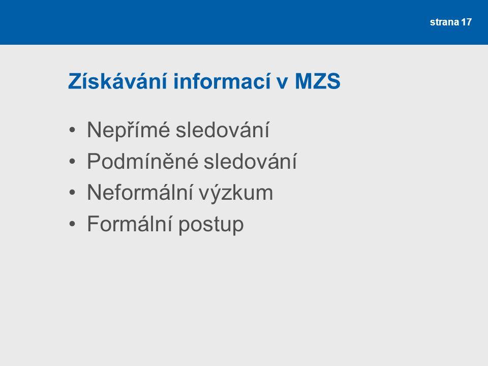 Získávání informací v MZS Nepřímé sledování Podmíněné sledování Neformální výzkum Formální postup strana 17