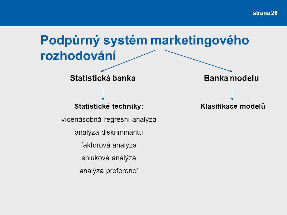 Podpůrný systém marketingového rozhodování strana 26 Statistická bankaBanka modelů Statistické techniky: vícenásobná regresní analýza analýza diskrimi