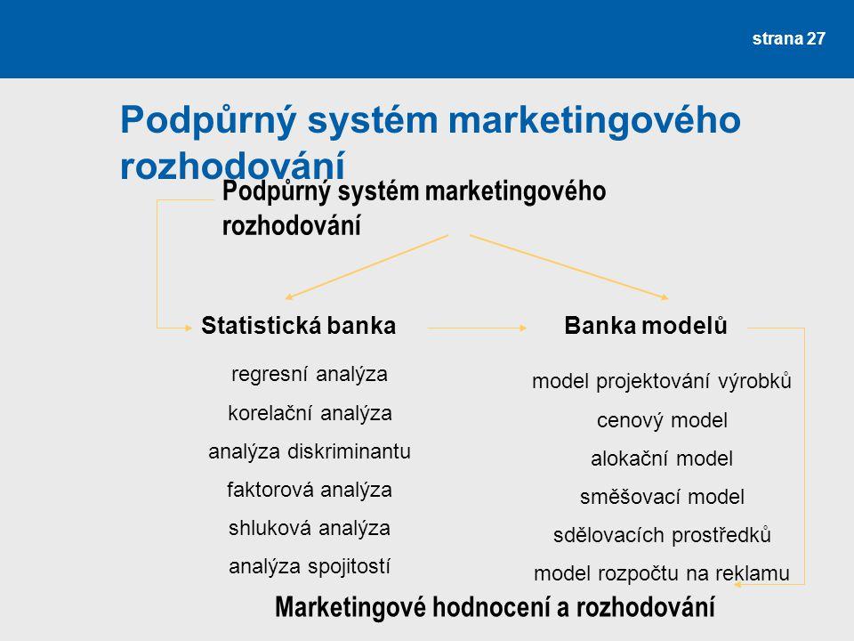 Podpůrný systém marketingového rozhodování strana 27 Podpůrný systém marketingového rozhodování Statistická bankaBanka modelů regresní analýza korelač