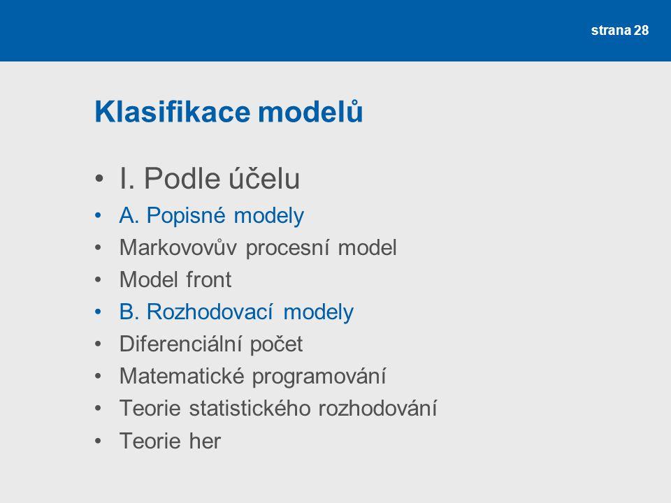 Klasifikace modelů I. Podle účelu A. Popisné modely Markovovův procesní model Model front B. Rozhodovací modely Diferenciální počet Matematické progra