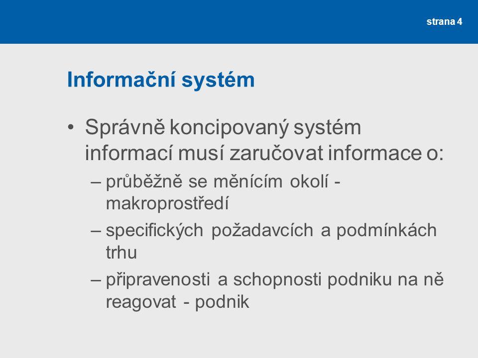 Informační systém Správně koncipovaný systém informací musí zaručovat informace o: –průběžně se měnícím okolí - makroprostředí –specifických požadavcí