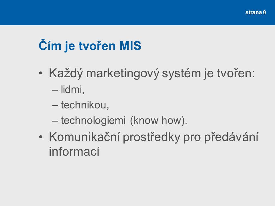 Čím je tvořen MIS Každý marketingový systém je tvořen: –lidmi, –technikou, –technologiemi (know how). Komunikační prostředky pro předávání informací s