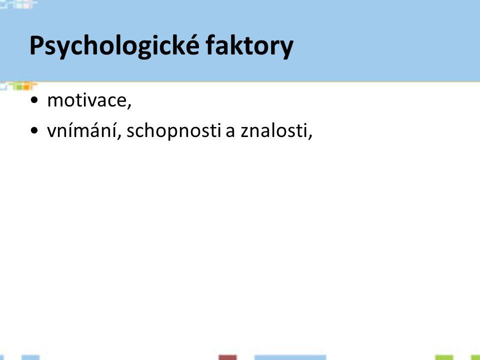 Psychologické faktory motivace, vnímání, schopnosti a znalosti,