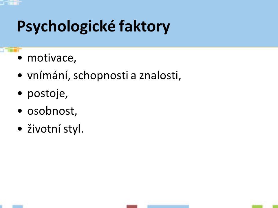 Psychologické faktory motivace, vnímání, schopnosti a znalosti, postoje, osobnost, životní styl.