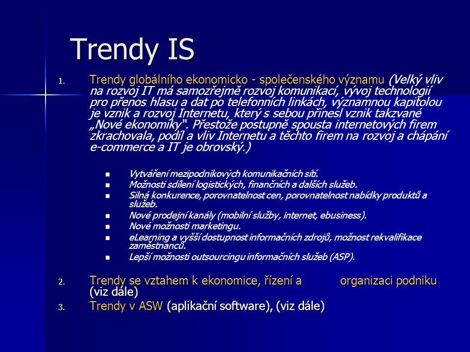 Trendy IS 1. Trendy globálního ekonomicko - společenského významu ( 1. Trendy globálního ekonomicko - společenského významu (Velký vliv na rozvoj IT m