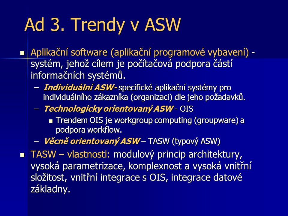 Ad 3. Trendy v ASW Aplikační software (aplikační programové vybavení) - systém, jehož cílem je počítačová podpora částí informačních systémů. Aplikačn