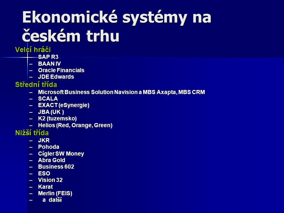 Ekonomické systémy na českém trhu Velc í hr á či –SAP R3 –BAAN IV –Oracle Financials –JDE Edwards Středn í tř í da –Microsoft Business Solution Navisi