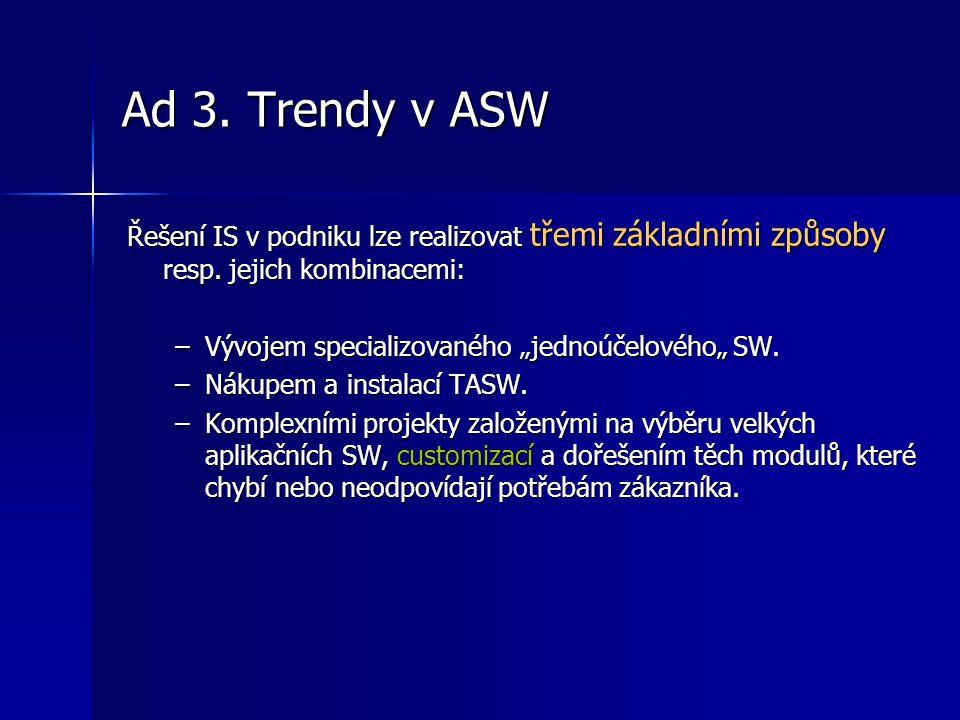 """Ad 3. Trendy v ASW Řešení IS v podniku lze realizovat třemi základními způsoby resp. jejich kombinacemi: –Vývojem specializovaného """"jednoúčelového"""" SW"""