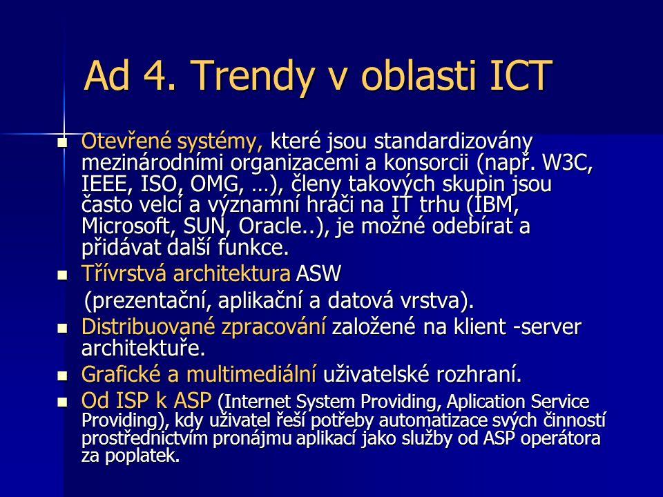 Ad 4. Trendy v oblasti ICT Otevřené systémy,které jsou standardizovány mezinárodními organizacemi a konsorcii (např. W3C, IEEE, ISO, OMG, …), členy ta