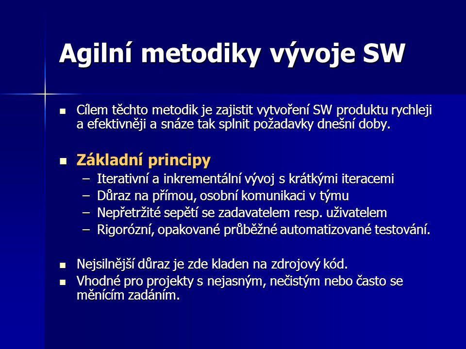Agilní metodiky vývoje SW Cílem těchto metodik je zajistit vytvoření SW produktu rychleji a efektivněji a snáze tak splnit požadavky dnešní doby. Cíle
