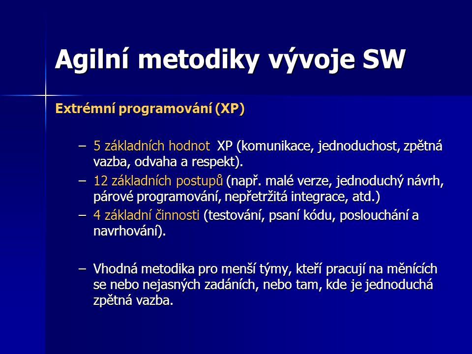 Agilní metodiky vývoje SW Extrémní programování (XP) –5 základních hodnot XP (komunikace, jednoduchost, zpětná vazba, odvaha a respekt). –12 základníc