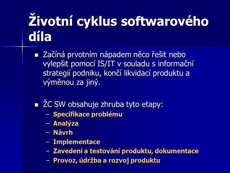 Životní cyklus softwarového díla Začíná prvotním nápadem něco řešit nebo vylepšit pomocí IS/IT v souladu s informační strategií podniku, končí likvida