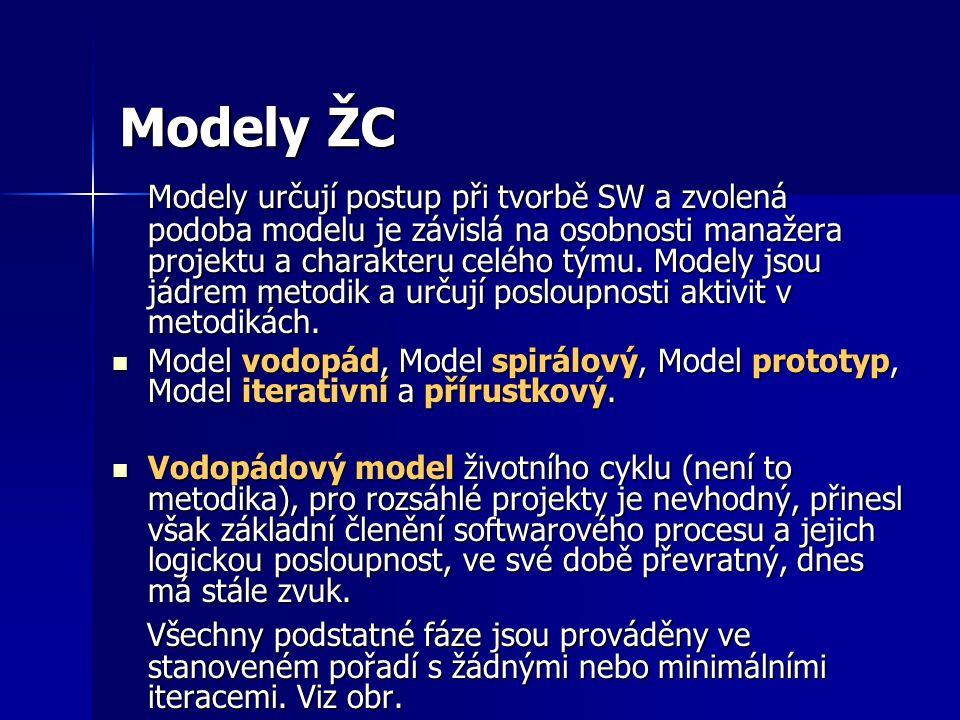 Modely ŽC Modely určují postup při tvorbě SW a zvolená podoba modelu je závislá na osobnosti manažera projektu a charakteru celého týmu. Modely jsou j