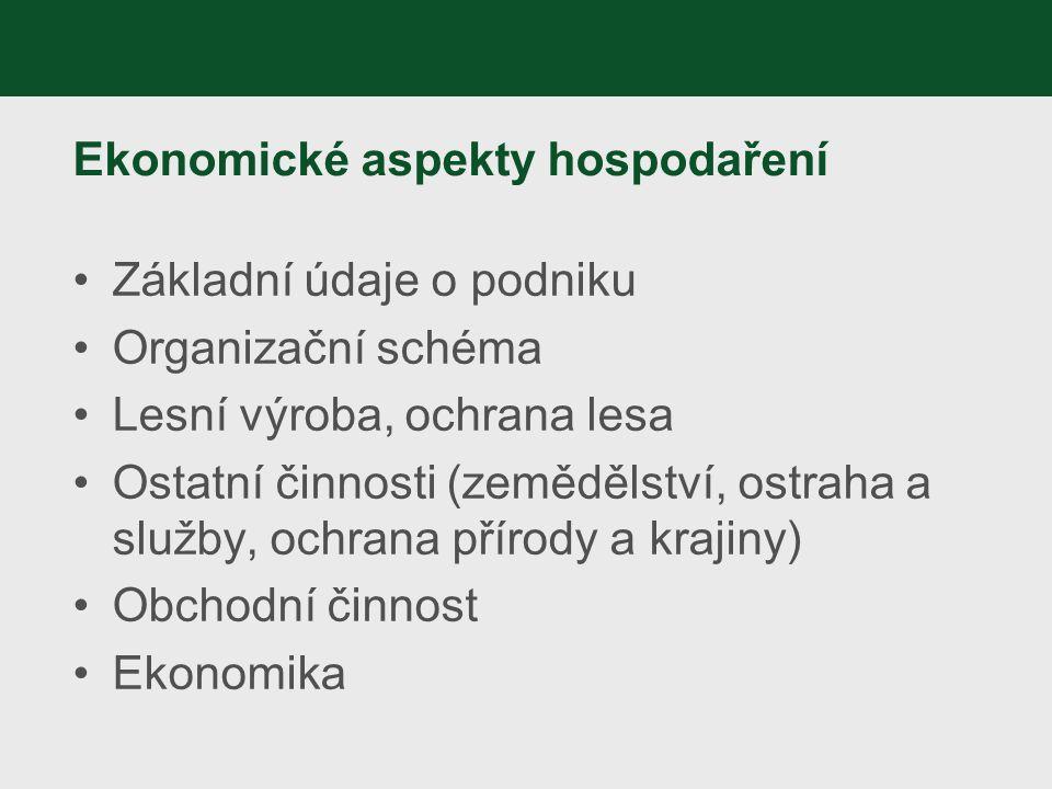 Ekonomické aspekty hospodaření Základní údaje o podniku Organizační schéma Lesní výroba, ochrana lesa Ostatní činnosti (zemědělství, ostraha a služby,