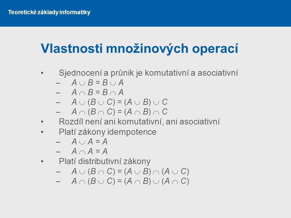 Teoretické základy informatiky Vlastnosti množinových operací Sjednocení a průnik je komutativní a asociativní –A  B = B  A –A  B = B  A –A  (B 