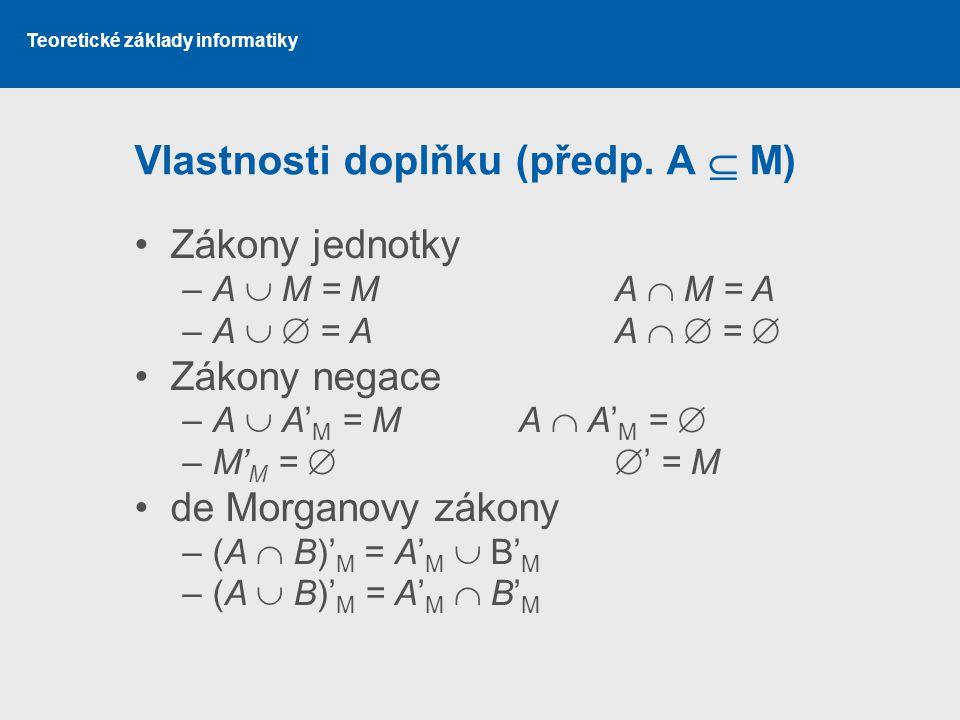 Teoretické základy informatiky Vlastnosti doplňku (předp. A  M) Zákony jednotky –A  M = MA  M = A –A   = AA   =  Zákony negace –A  A' M = MA