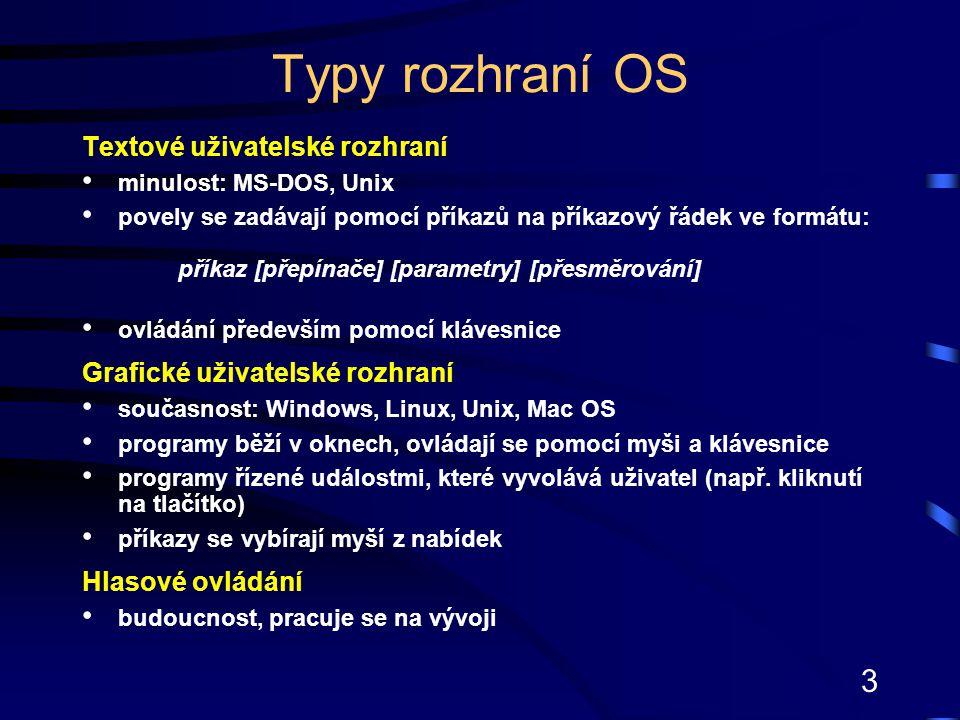 3 Typy rozhraní OS Textové uživatelské rozhraní minulost: MS-DOS, Unix povely se zadávají pomocí příkazů na příkazový řádek ve formátu: příkaz [přepín