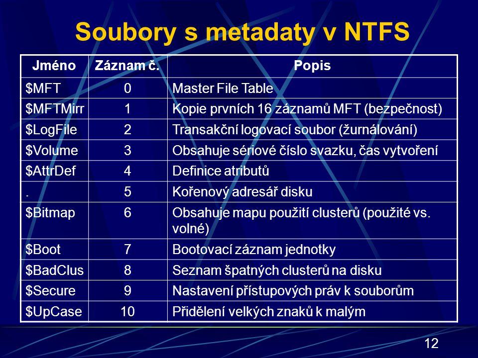 12 Soubory s metadaty v NTFS JménoZáznam č.Popis $MFT0Master File Table $MFTMirr1Kopie prvních 16 záznamů MFT (bezpečnost) $LogFile2Transakční logovac