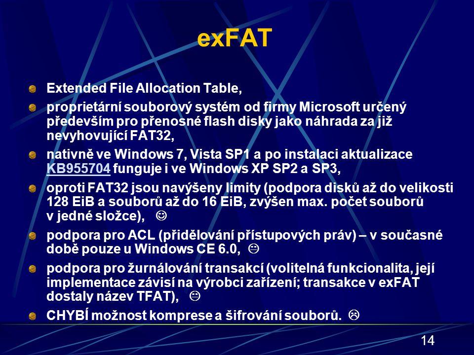 14 exFAT Extended File Allocation Table, proprietární souborový systém od firmy Microsoft určený především pro přenosné flash disky jako náhrada za ji