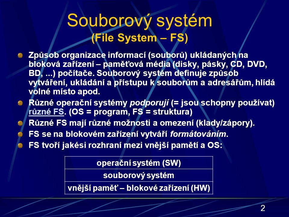 2 Souborový systém (File System – FS) Způsob organizace informací (souborů) ukládaných na bloková zařízení – paměťová média (disky, pásky, CD, DVD, BD