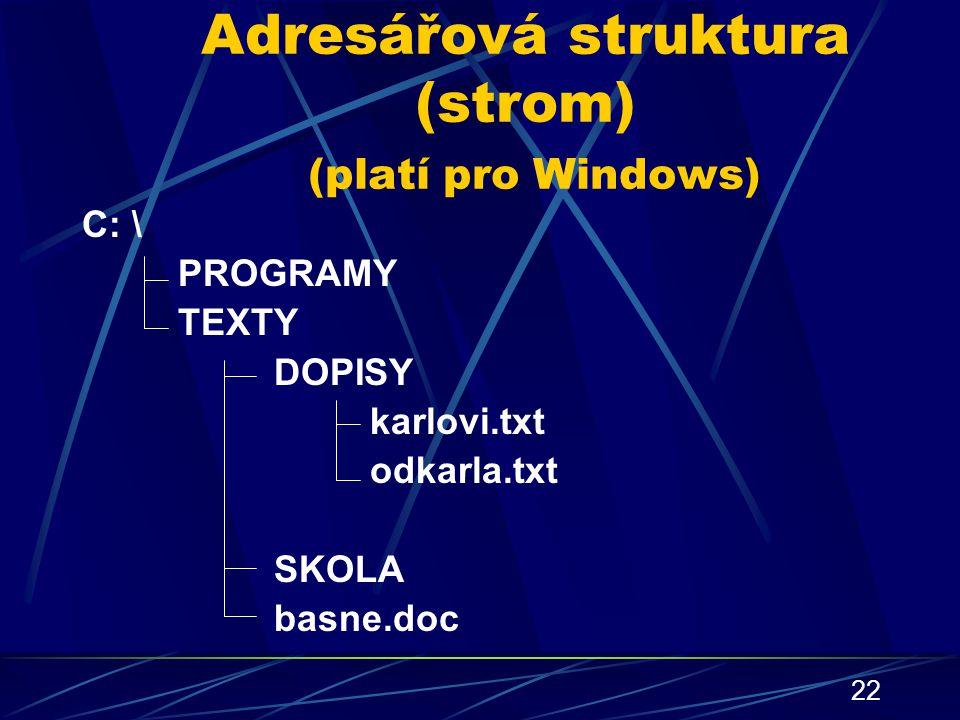 22 Adresářová struktura (strom) (platí pro Windows) C: \ PROGRAMY TEXTY DOPISY karlovi.txt odkarla.txt SKOLA basne.doc