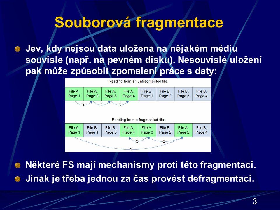 3 Souborová fragmentace Jev, kdy nejsou data uložena na nějakém médiu souvisle (např. na pevném disku). Nesouvislé uložení pak může způsobit zpomalení