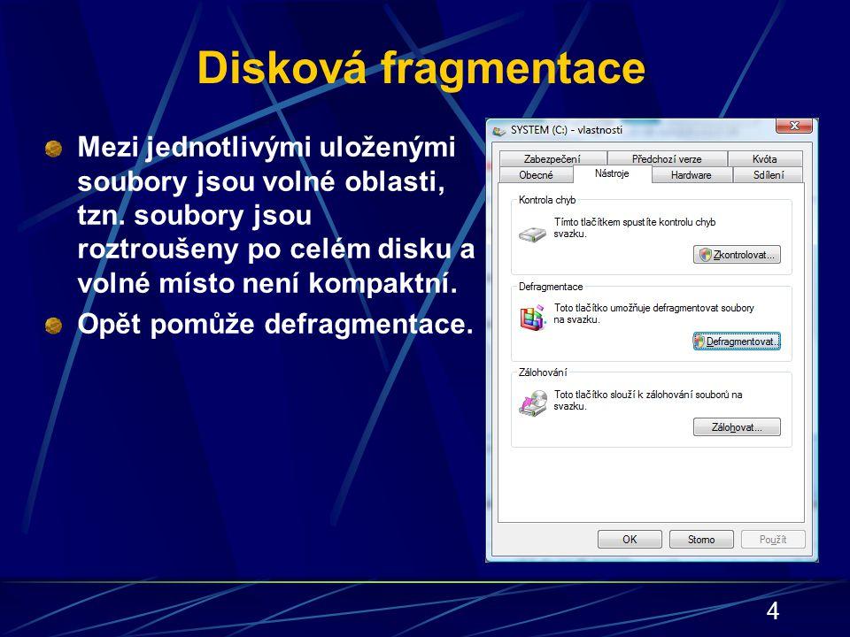 4 Disková fragmentace Mezi jednotlivými uloženými soubory jsou volné oblasti, tzn. soubory jsou roztroušeny po celém disku a volné místo není kompaktn