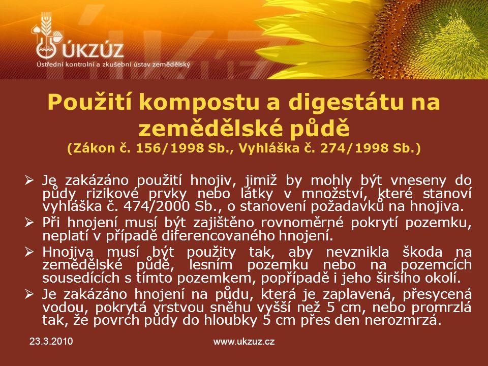 Použití kompostu a digestátu na zemědělské půdě (Zákon č.